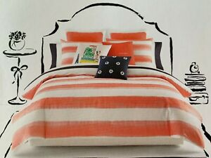Kate-Spade-Full-Queen-Comforter-Set-w-2-Standard-Shams-Rugby-Stripe-Coral-White