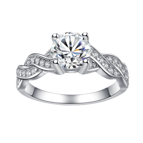 Women/'s Sterling Silver Cubic Zirconia 1.28 Ct Infinity Promise Engagement Ring