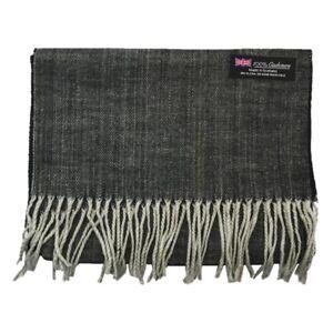 Men Women unisex 100/%CASHMERE Scarf Plain thick stripe Wool Soft SCOTLAND Black