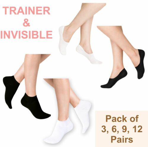 Mens Womens TRAINER SOCKS Sports Gym Ankle Liner 3,6,9 /& 12 Pairs No Show Plain