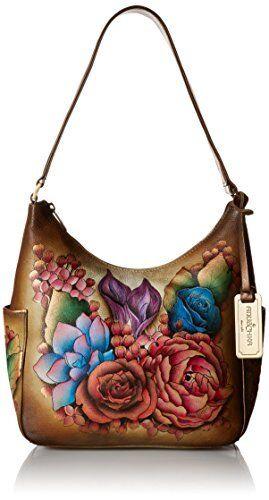 Anuschka Classic Genuine Leather Handpainted Hobo Handbag