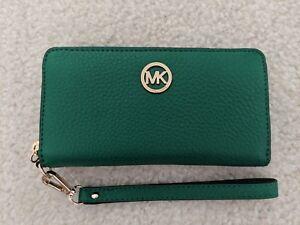 668d52cb6ef4 NWT Michael Kors FULTON Wallet Zip Around Wristlet Green Phone Case ...