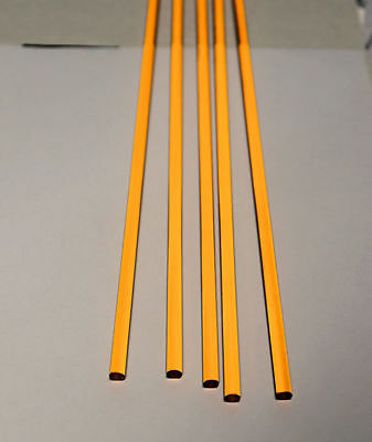 """5 PC 1//4"""" DIAMETER 12"""" LONG CLEAR AMBER ACRYLIC TRANSLUCENT PLASTIC COLORED ROD"""