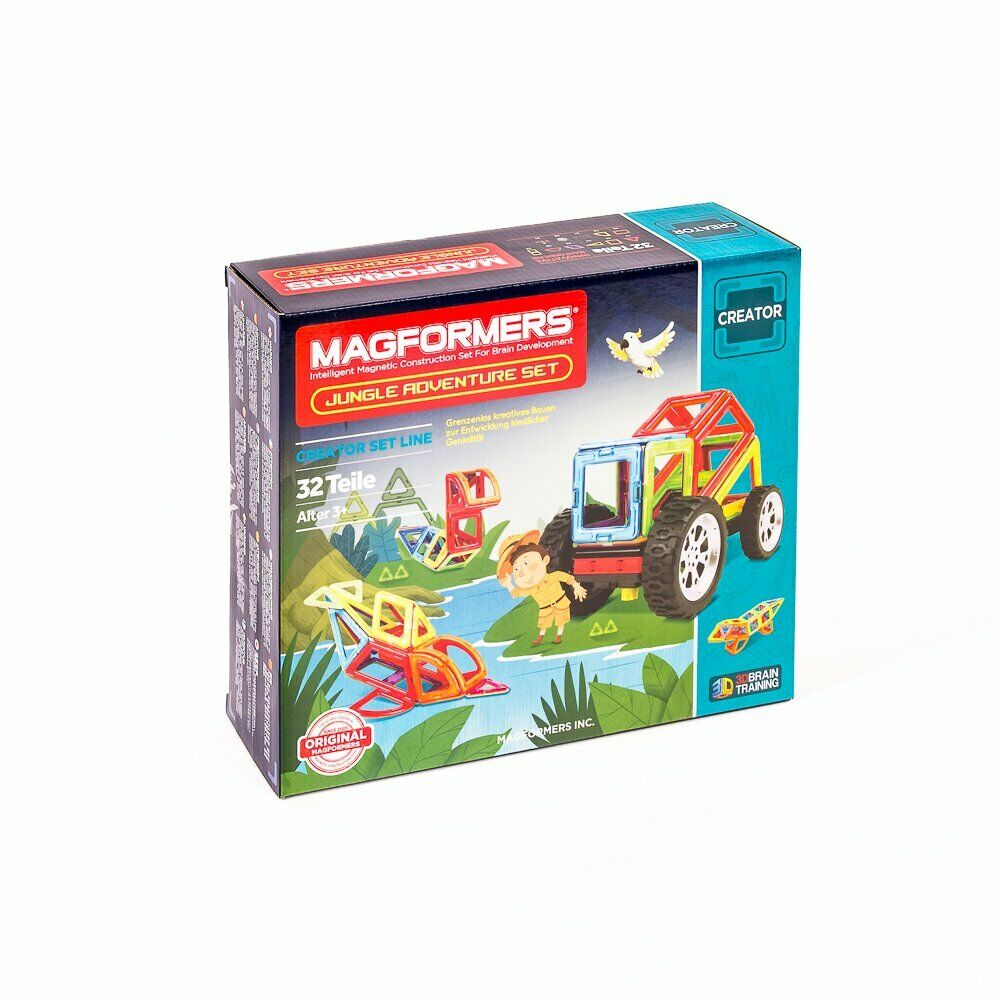 Magformers Jungle Adventure Set 32T Colourful + Book Magnetic Game