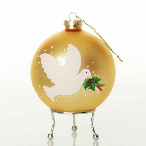 Glass Peace Doves Christmas Bauble Personalised Hand Painted Decoration