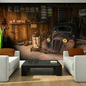 poster tapeten fototapete wandbild foto garage auto braun reparatur 10518 p8 ebay. Black Bedroom Furniture Sets. Home Design Ideas