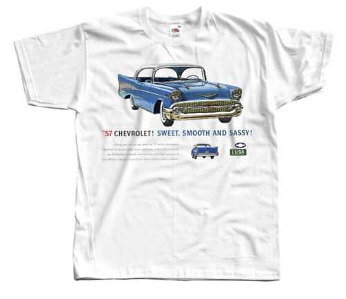 Chevrolet Ad-02 1957 WHITE All sizes S-5XL T-Shirt car poster