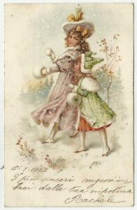 Antiche Immagini Di Natale.Antica Cartolina Di Auguri Augurale Natale Spdita Nel 1902 Da Vedere Ebay