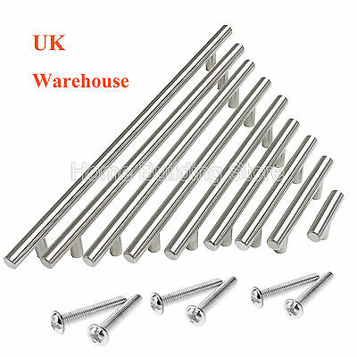 PinLin 20 Pack Kitchen Door Handles 64mm Hole Centre Brushed Nickel Cabinet Handles Stainless Steel Cupboard T Bar Handle Screws Included