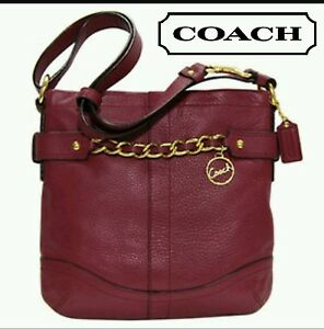 0130a74947dd Image is loading COACH-LEATHER-CHAIN-DUFFLE-SHOULDER-CROSSBODY-PURSE-F19722-