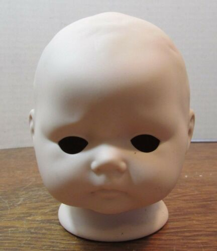 "Vintage  BISQUE DOLL HEAD 3 1//2/"" TALL unpainted  body parts BABY FACE"