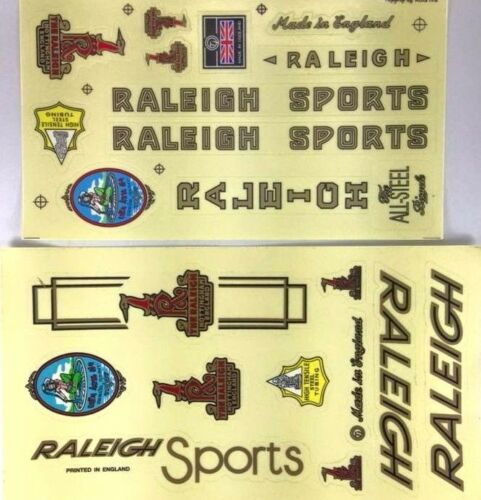 BICYCLE VINTAGE 2 DECAL SET RALEIGH SPORT BIKE STICKER CYCLING FRAME SPARE PART
