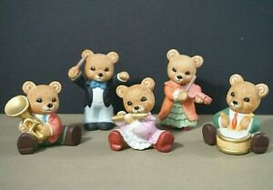 Homco-teddy-bear-musicians-porcelain-figurines-1422-set-of-5-flute-drum-violin