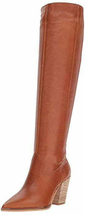 Lucky Brand Azoola Whiskey Leather Pointed Toe Knee Knee Knee High Stacked Heel Boots 778ea1