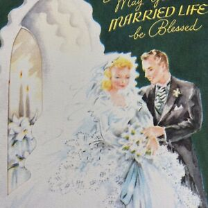 Vintage-Mid-Century-Greeting-Card-Wedding-Blonde-Bride-Groom-Die-Cut-Dark-Green