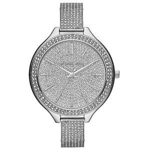 Details zu Michael Kors Uhr MK3250 Slim Runway Damenuhr Silber Edelstahl Strass NEU & OVP