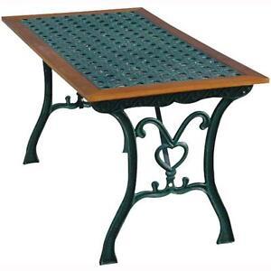 Tavoli In Ghisa Da Giardino.Tavolo Rettangolare Da Giardino Mod Rattan Arc In Ghisa 110x65xh