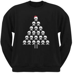 Skull-amp-Crossbones-Christmas-Tree-Black-Adult-Crew-Neck-Sweatshirt