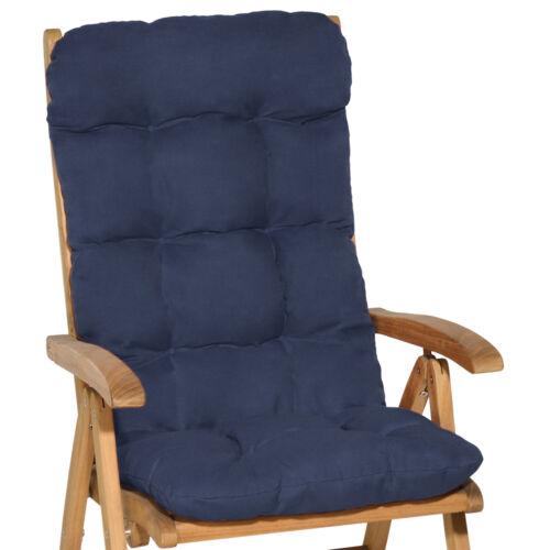 2 Set High Back Chair Cushion Pad Recliner Garden Flair HL 120x50x8cm Blue