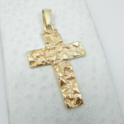 Details about  /Men/'s 14K Yellow Gold Over Men/'s Nugget Cross Charm Exclusive Pendant