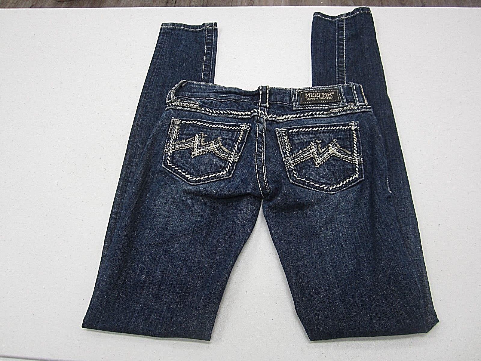 MINT  MISS ME Skinny JE1043S2X Embroidered Dark Jeans Size 23 X 35
