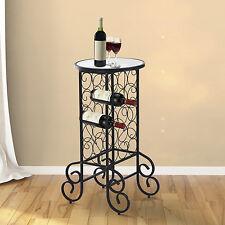 Glass Table Wine Bottle Rack Holder Bar Table Storage Organizer Stand Home Black