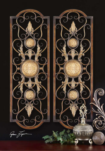 SET OF TWO AGED BRONZE METAL WALL ART PANELS RUSTIC TUSCAN SCROLL VINTAGE