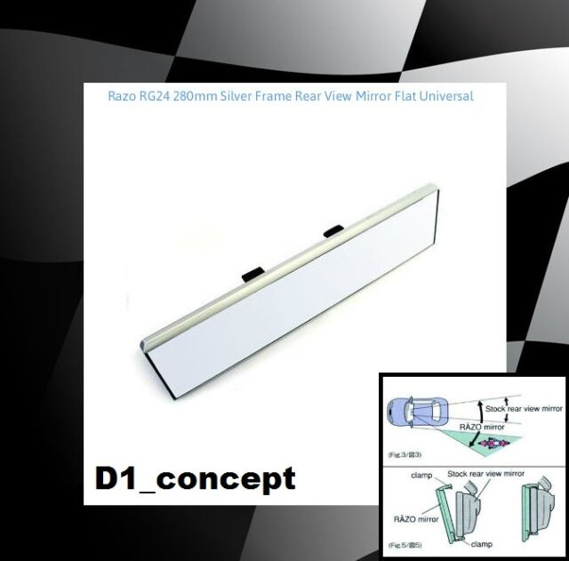 280MM Wide Flat Clear JDM Universal Interior Clip On Rear View Rearview Mirror