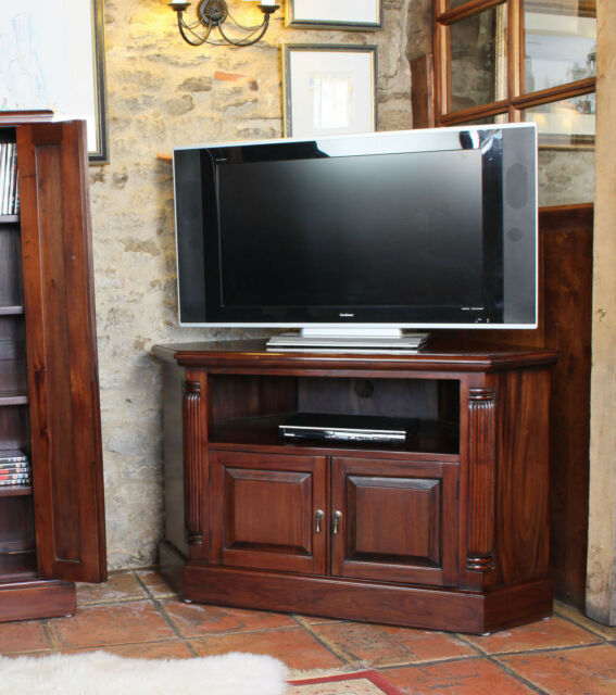 La Roque Solid Mahogany Corner TV Cabinet Solid Wood Entertainment Stand 42""