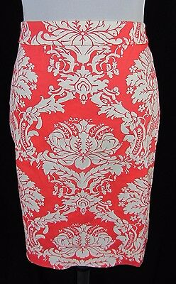 J Crew Pencil Skirt size 8 Coral Victorian Paisley Slim