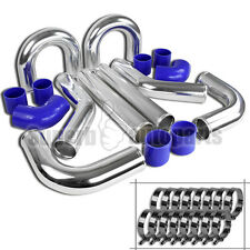 "8X Universal 3"" Aluminum Turbo Intercooler Piping Kit+Elbow Hose+Clamp Chrome"