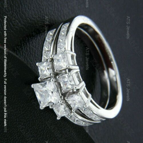 Details about  /1.75 CT Princess Cut Diamond Three Stone Wedding Ring Set 14k White Gold Over GP