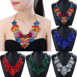 Fashion-Jewelry-Chain-Rhinestone-Crystal-Collar-Statement-Pendant-Bib-Necklace