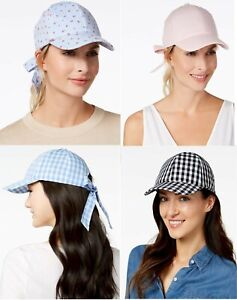 e8f060a18a6e9 INC Bow Tie Back Cotton Baseball Cap Gingham Blue Black Pink MSRP ...