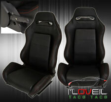 Pair Of Reclinable Bucket Seats Chairs Pvc Leather Sport Racing Slider Black Fits Cts V