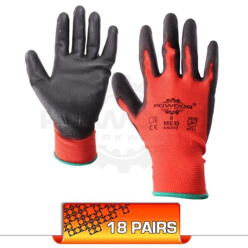 18 PAIRS • Safety PU Work Gloves PPE • RED • Great Grip • Mechanic Warehouse DIY