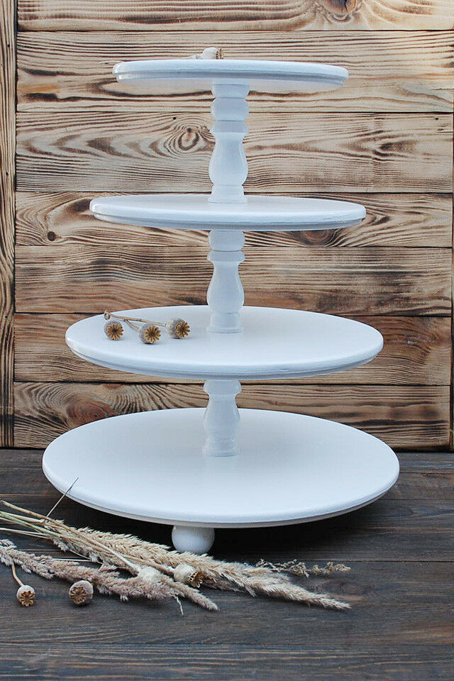 Stand for Cupcake, 4-tiered, muffin Stand, White Wedding, wood, handmade, rustic