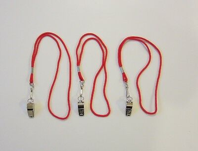 3 NEW HEAVY DUTY CHAMPION BRASS METAL WHISTLES /& 3 RED LANYARDS WITH HOOK