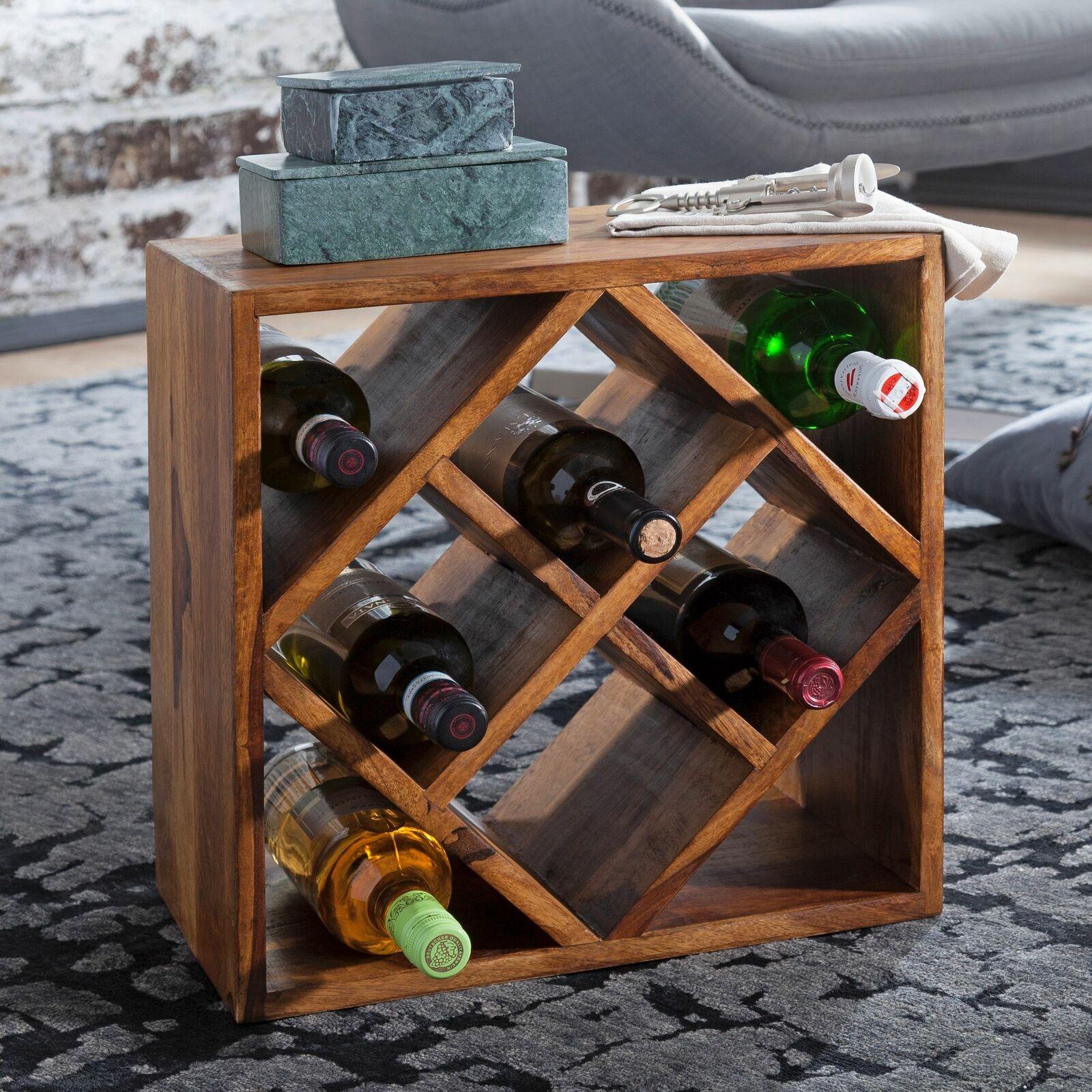 FineBuy Vin étagère FB50958 casier à vin en bois Porte Bouteille Vin en Bois Massif étagère