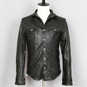 Mens-Vintage-Black-Leather-Shirt-Jacket-Casual-Coat