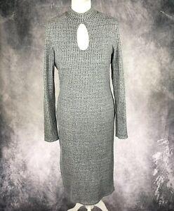 Miss-Selfridge-Grey-amp-White-Ribbed-Midi-Dress-Keyhole-Neckline-UK-Size-14