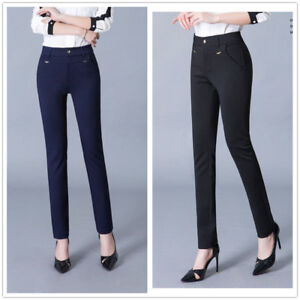 Verantwortlich Womens Black Tailored Formal Suit Solid Slim Trousers Ideal For Work Office