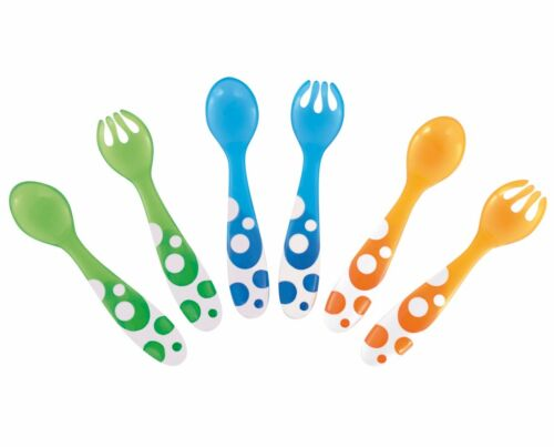 MUNCHKIN 6 PACK MULTI-COLOURED SPOONS /& FORKS NEW