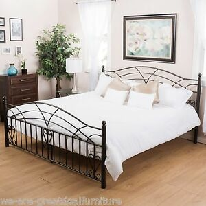 Bedroom Furniture Black Finish Iron Metal King Size Bed Ebay