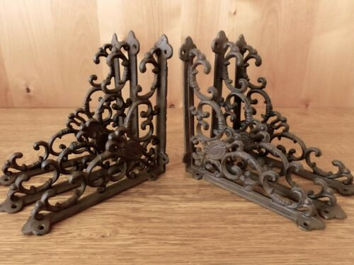 6 BROWN ANTIQUE-STYLE 8 SHELF BRACKETS CAST IRON rustic wall garden VICTORIAN