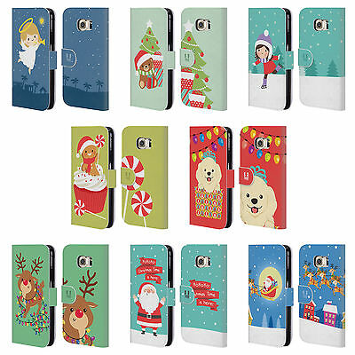 HEAD CASE DESIGNS JOLLY CHRISTMAS TOONS LEATHER BOOK CASE FOR SAMSUNG PHONES 1