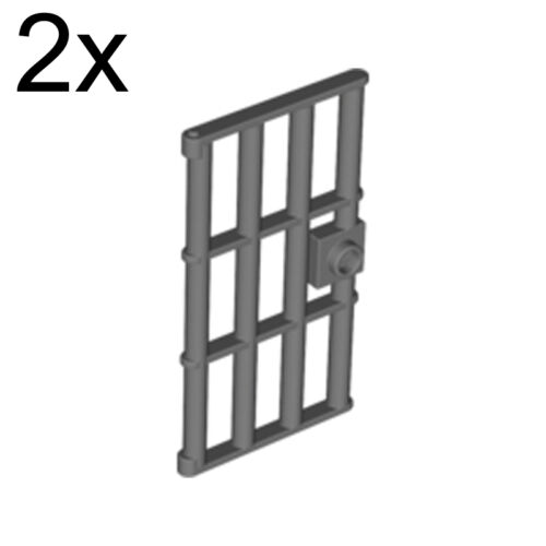 LEGO 2x Pearl Dark Gray Door 1 x 4 x 6 Barred with Stud Handle 6037634 60621