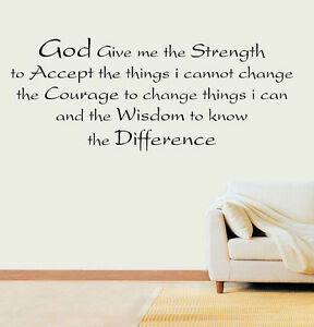 Details about Strength Wisdom Difference Prayer Quote Vinyl Wall Art  Sticker Decal