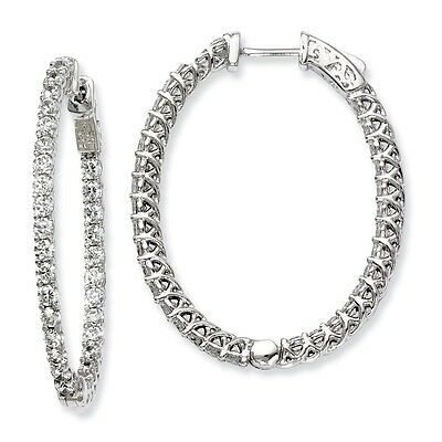 Sterling Silver CZ 66 Stones In and Out Oval Hoop Earrings
