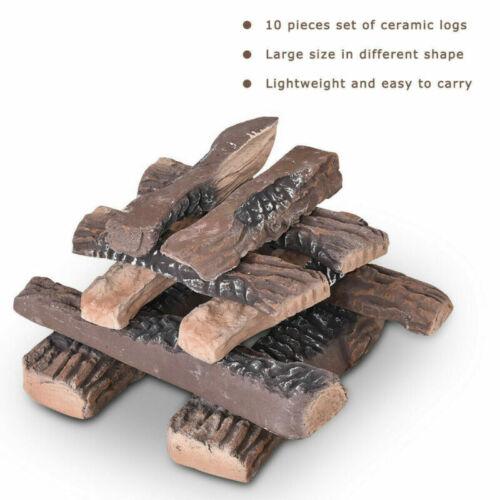 10 Pcs Ceramic Gas Fireplace Log SetPropane Fireplace Imitation Wood Log Set